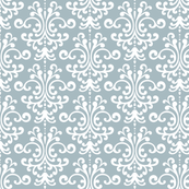 damask slate blue and white