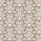 damask tan and white