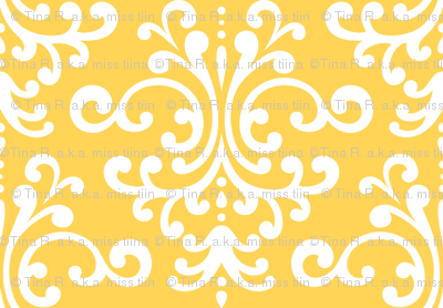 damask yellow and white
