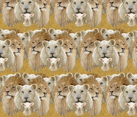 Lions led by a lamb fabric by su_g on Spoonflower - custom fabric