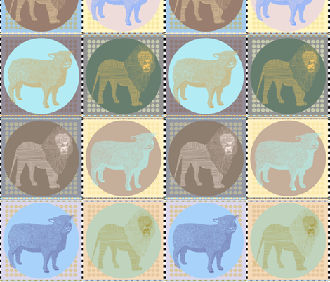 Lamb & Lion in Pastels fabric by rubydoor on Spoonflower - custom fabric