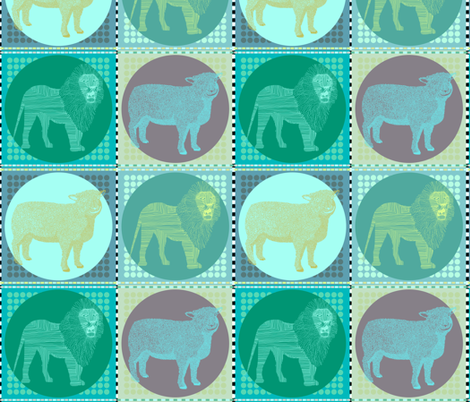 Lamb & Lion in Blue fabric by rubydoor on Spoonflower - custom fabric