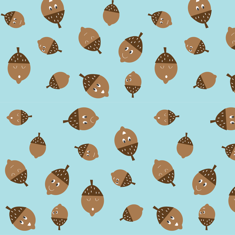 Acorns on Blue fabric by halfpinthome on Spoonflower - custom fabric