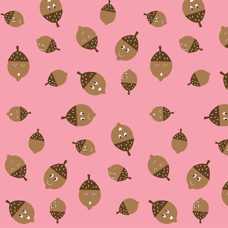 Acorns on Pink fabric by halfpinthome on Spoonflower - custom fabric