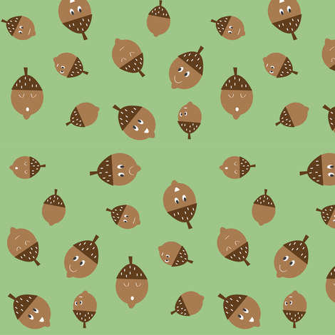 Acorns on Green fabric by halfpinthome on Spoonflower - custom fabric