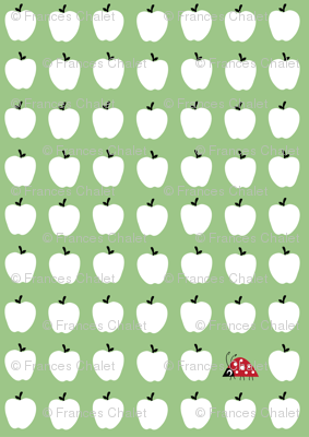 Little ladybirds and lots of apples.