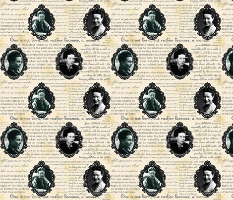 Cameo de Beauvoir fabric by pirophobia on Spoonflower - custom fabric