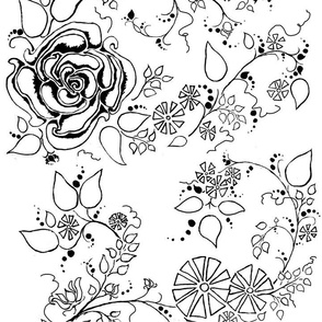 Black & White Simplified Chintz Rose