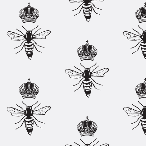 BW Queen Bee fabric by efolsen on Spoonflower - custom fabric