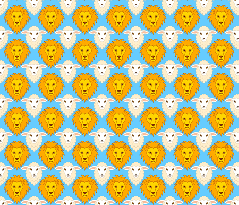 lion + lamb portraits fabric by sef on Spoonflower - custom fabric