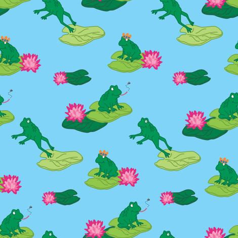Frogs Make a Splash fabric by tinastextiles on Spoonflower - custom fabric
