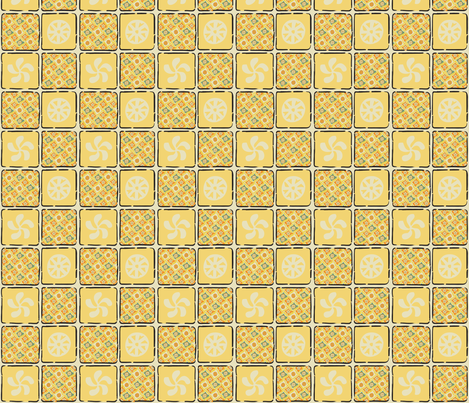 Gitchy Pals Diamonds Yellow fabric by gitchyville_stitches on Spoonflower - custom fabric