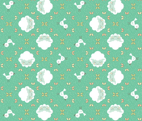Emerald Baby Lamb fabric by brandipowell on Spoonflower - custom fabric