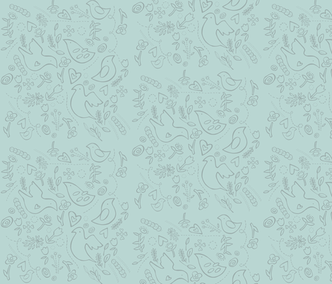 """quilted"" folk birds in soft baby blue with blue grey details"