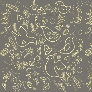 """quilted"" folk birds in warm grey with soft yellow details"