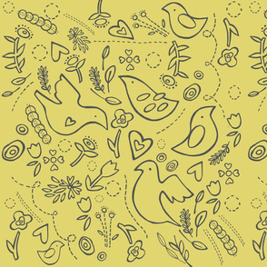 """quilted"" folk birds in corn yellow & grey"
