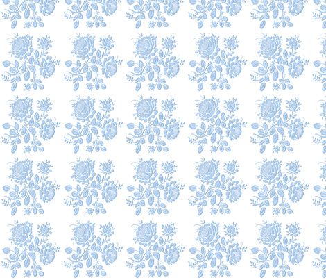 Summerhouse Rose in Blueberry Blue fabric by lilyoake on Spoonflower - custom fabric
