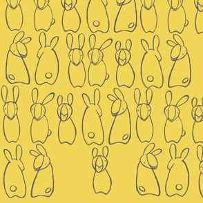 """who me?"" bunnies in corn yellow & grey"