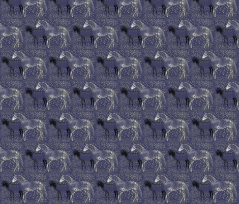 Horses and Silvery Leaves fabric by eclectic_house on Spoonflower - custom fabric