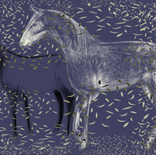 Horses and Silvery Leaves