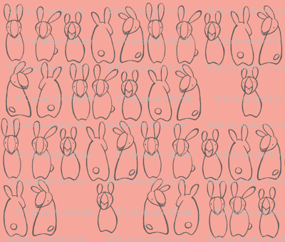"""who me?"" bunnies in pink blossom & grey"