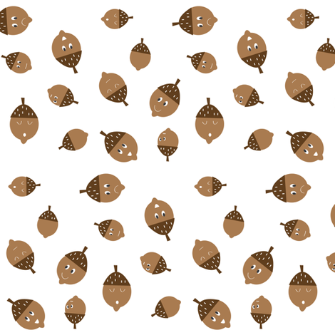 Acorns on white fabric by halfpinthome on Spoonflower - custom fabric