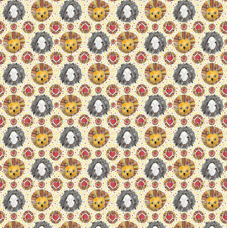 Lion & Lamb fabric by susiprint on Spoonflower - custom fabric