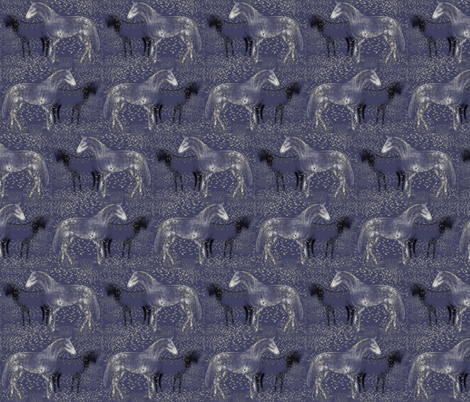 Horses and Silvery leaves 2 fabric by eclectic_house on Spoonflower - custom fabric