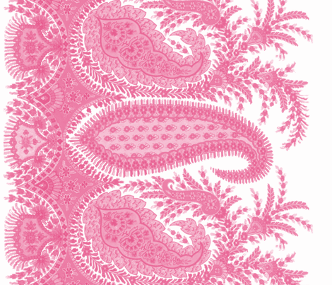 The Paisley Sublime ~ Anna Pink Border Print fabric by peacoquettedesigns on Spoonflower - custom fabric