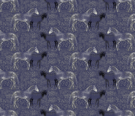 Horses and Silvery Leaves 3 fabric by eclectic_house on Spoonflower - custom fabric
