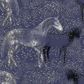Horses and Silvery Leaves 3