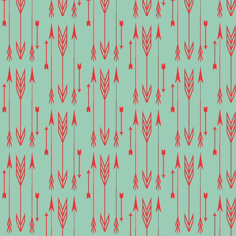 arrows jade & poppy fabric by bymindy on Spoonflower - custom fabric
