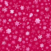 photographic snowflakes on red