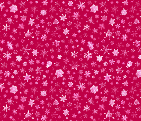 photographic snowflakes on red fabric by weavingmajor on Spoonflower - custom fabric
