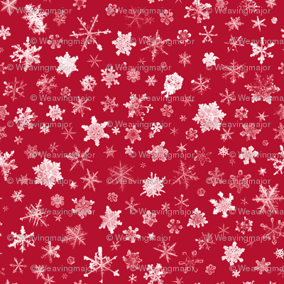 photographic snowflakes on crimson