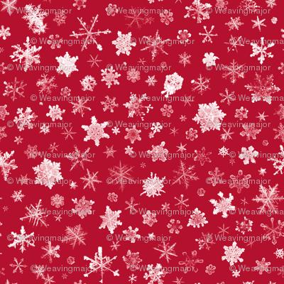 photographic snowflakes on crimson (large snowflakes)