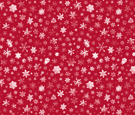 photographic snowflakes on crimson fabric by weavingmajor on Spoonflower - custom fabric