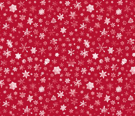 photographic snowflakes on crimson (large snowflakes) fabric by weavingmajor on Spoonflower - custom fabric