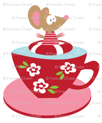 Tea cup Miss Mouse 2 on White.