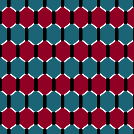 Red and Teal Hex fabric by pond_ripple on Spoonflower - custom fabric