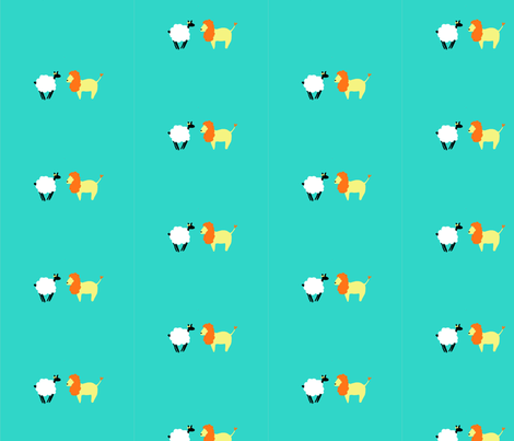 Lion and the Sheep fabric by ayamuse on Spoonflower - custom fabric