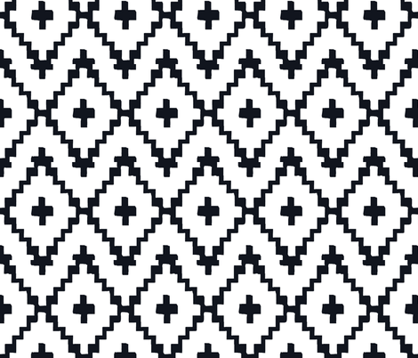 Southwest Diamond Chevron _ Black on white fabric by fable_design on Spoonflower - custom fabric