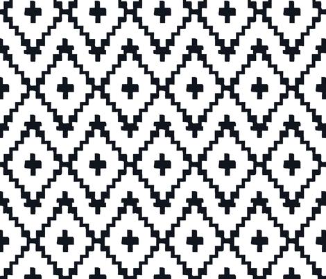 Southwest Diamond Chevron _ Black on white fabric by fable_design on Spoonflower - custom fabric