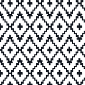 Southwest Diamond Chevron _ Black on white