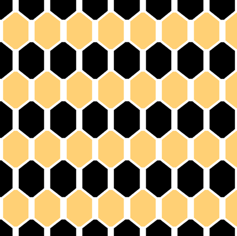 Black and Gold Hex fabric by pond_ripple on Spoonflower - custom fabric