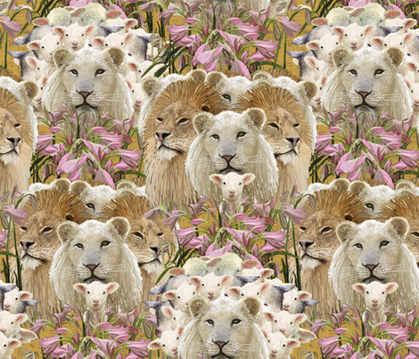 Lions, lambs and easter lilies fabric by su_g on Spoonflower - custom fabric