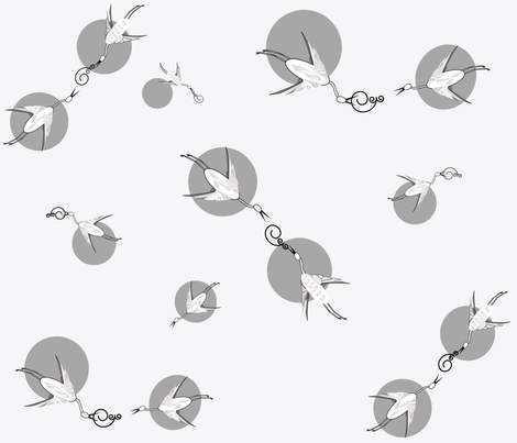 Silver_cranes fabric by designergena on Spoonflower - custom fabric