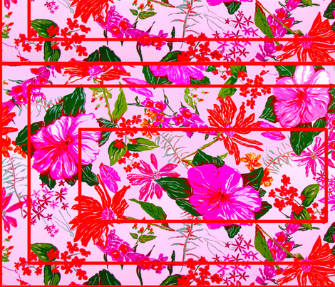 pink floral red geometry fabric by bettinablue_designs on Spoonflower - custom fabric