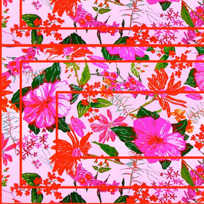pink floral red geometry