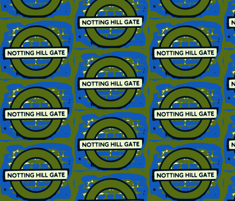 Notting Hill Blue and Green fabric by bettinablue_designs on Spoonflower - custom fabric